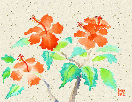 Beverly Claire Kaiya - Orange Hibiscus Watercolor Painting with Beige Washi Background