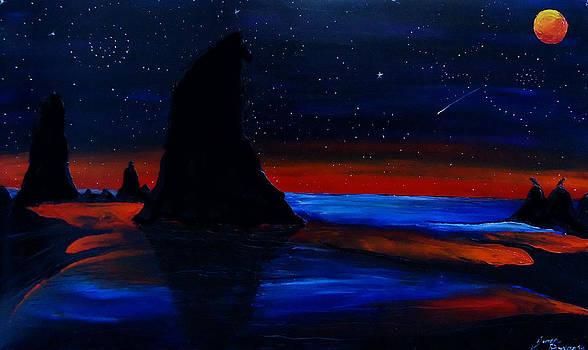Orange Moon Of Cannon Beach by Portland Art Creations
