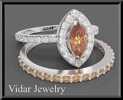 Orange Sapphire And Diamond 14k Wedding Ring And Engagement Ring Set by Roi Avidar