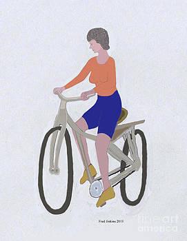 Orange Shirt Bicycler by Fred Jinkins