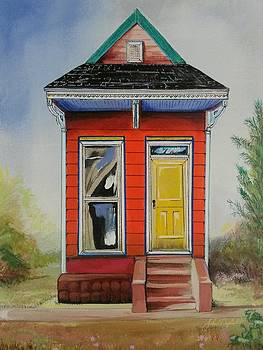 Orange Shotgun House by John  Duplantis