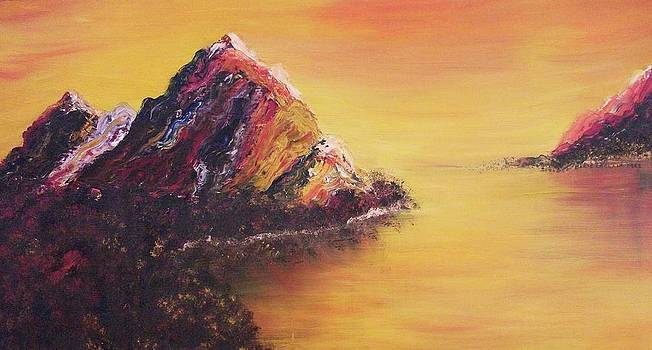 Suzanne  Marie Leclair - Orange Sky and Yellow Mountains