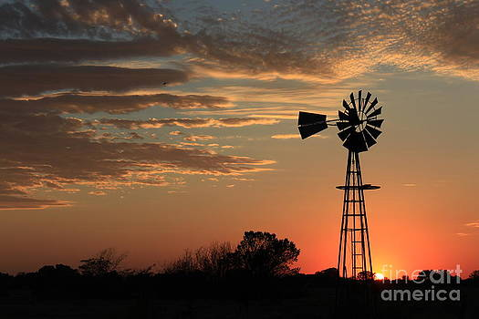 Orange Sky with cloud's and  Windmill Silhouette by Robert D  Brozek