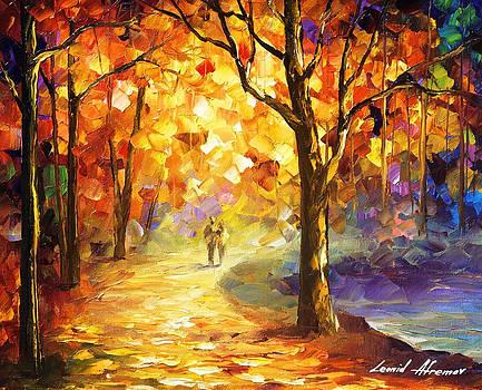 Orange Smoothness - PALETTE KNIFE Oil Painting On Canvas By Leonid Afremov by Leonid Afremov