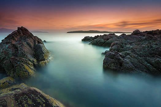 Orange Sunset at Portencross by Fiona Messenger