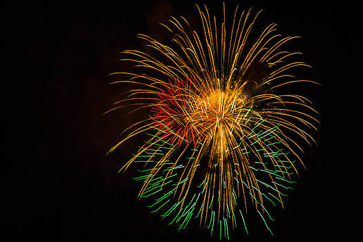 Orange Yellow Green Fireworks Galveston by Jason Brow