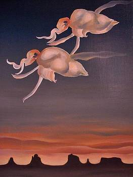 Orchids Flying At Sunset by Deliara Yesieva