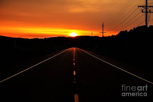 Oregon Country Road Sunset by Michael Cross