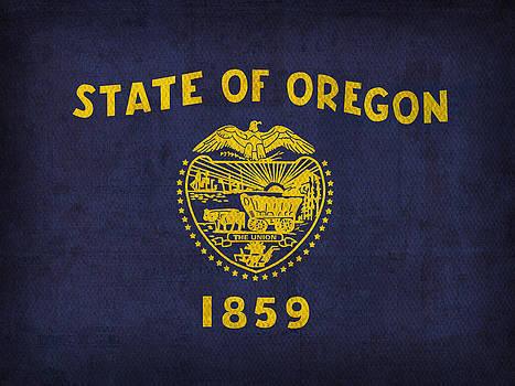 Design Turnpike - Oregon State Flag Art on Worn Canvas