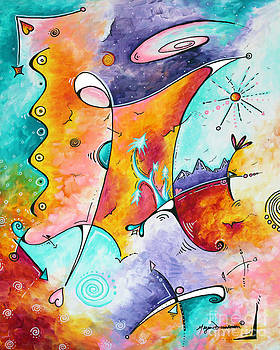 Original Abstract Colorful Painting Fun and Funky Landscape and Colorful Theme Wistful Dreams by MD by Megan Duncanson