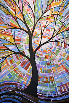 Original Abstract Tree Landscape Painting ... Here Comes the Sun by Amy Giacomelli