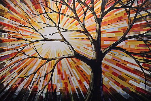Original Abstract Tree Landscape Painting ... Shine by Amy Giacomelli