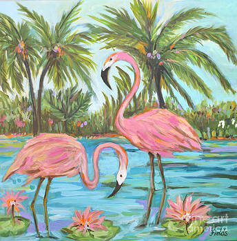 Original Flamingo Painting by Karen Fields
