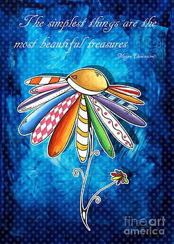 Original Hand Painted Daisy Quilt Painting Inspirational Art Quote by Megan Duncanson by Megan Duncanson