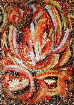 Original modern abstract painting on canvas palette knife in handmade Fireplace by Natalya Zhdanova