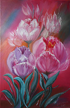 Original Modern oil Painting in style Expressionism palette knife on canvas Flowers painting Tulips. by Natalya Zhdanova