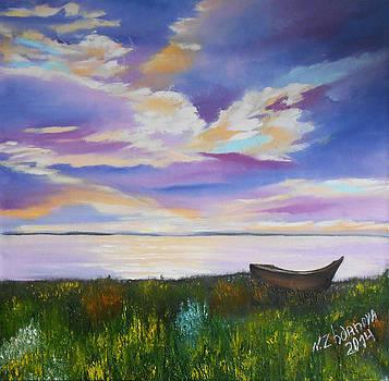 Original Modern oil Painting in style impressionism on canvas landscape Summer Sunset handmade by Natalya Zhdanova