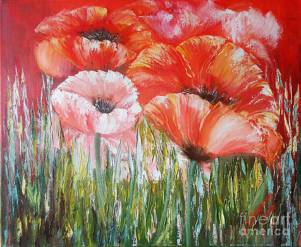 Original Modern oil Painting in style impressionism palette knife on canvas Flowers painting Poppies by Natalya Zhdanova