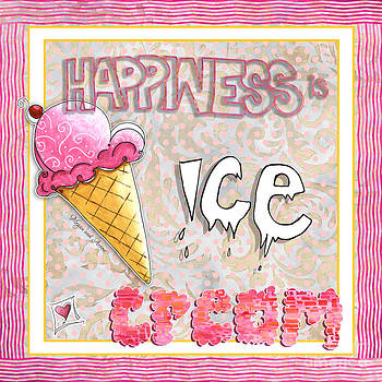 Original Painting Fun Typography Art Happiness is Ice Cream by Megan and Aroon Duncanson by Megan Duncanson