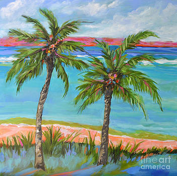 ORIGINAL PAINTING Palm Tree Beach by Karen Fields