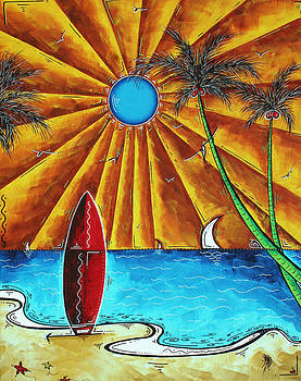 Original Tropical Surfing Whimsical Fun Painting WAITING FOR THE SURF by MADART by Megan Duncanson