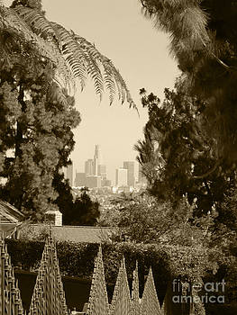 Original Vintage Urban Landscape Deco Reproduction Downtown Los Angeles Trees Retro Unique Fine Art by Marie Christine Belkadi