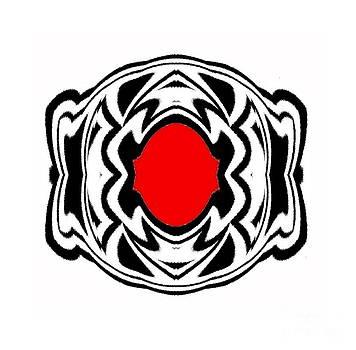 Drinka Mercep - Ornament Black White Red Geometric Art No.119.