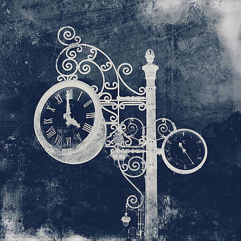 Angela Bonilla - Ornate Vintage Clock in Blue