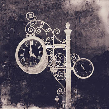 Angela Bonilla - Ornate Vintage Clock in Deep Purple