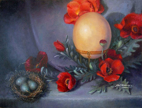 Ostrich Egg and Poppies by Sharen AK Harris