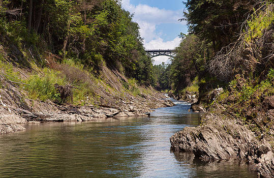 Ottauquechee River flowing through the Quechee Gorge by John M Bailey