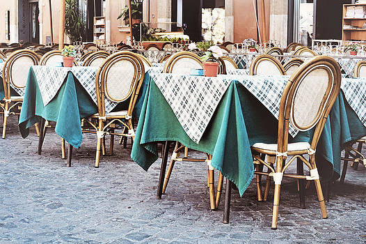 Outdoor Restaurant Cafe in Piazza Navona by Angela Bonilla