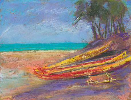 Outrigger Canoes at Kailua Beach by Jennifer Robin