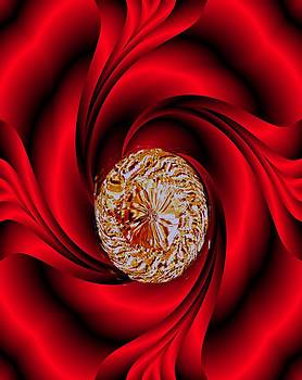 Oval Diamond in Red Satin by Marian Hebert