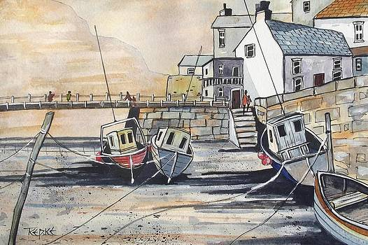 Over The Bridge At Staithes by Trudy Kepke