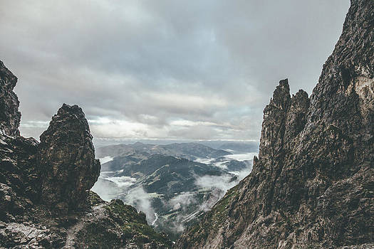 Overcast Landscape With Harsh Rockformation In The Austrian Alps by Leander Nardin