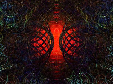 Overgrown Entry - Red by Elizabeth S Zulauf