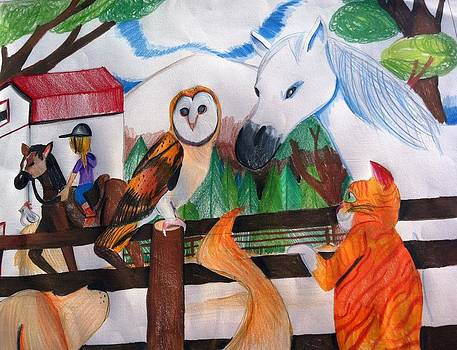 Artists With Autism Inc - Owl on post