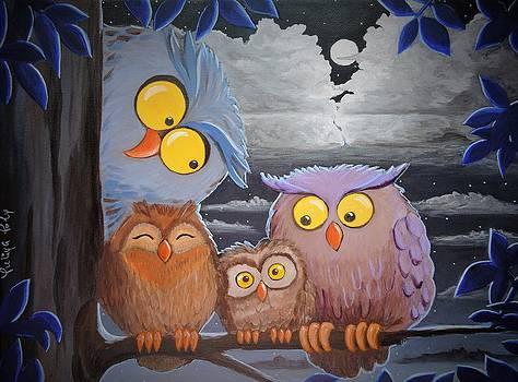 Owls Family by Yuliya Poly