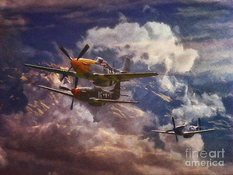 P51 Mustang Airplane Formation by Shawna Mac