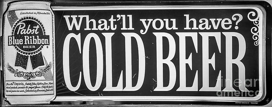 Ian Monk - Pabst Cold Beer Sign Key West - Black and White