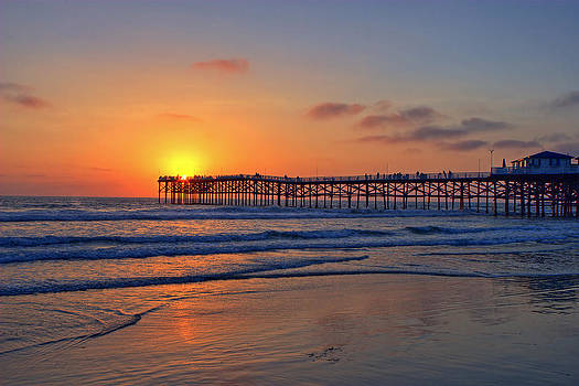 Pacific Beach Pier Sunset by Peter Tellone