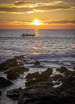 Paddlers At Sunset Portrait by Denise Bird