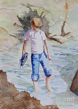 Paddling at Bude by Julie Wrathall