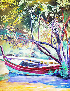 Paint a boat under the tree. Oil on canvas. by Natee Srisuk