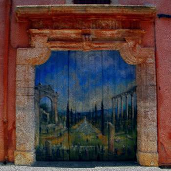 Painted door in Roussillon canvas by Manuela Constantin