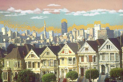 Art America Gallery Peter Potter - San Francisco Alamo Square - Watercolor Illustration