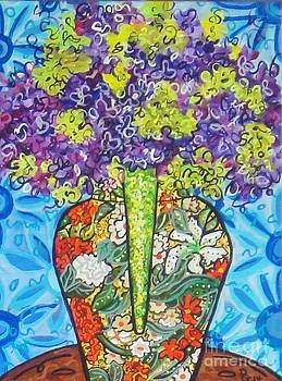 Painted Vase with Hydrangeas by Deborah Glasgow