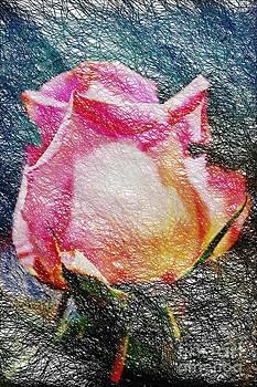Painted Wire Rose Bud by Judy Palkimas