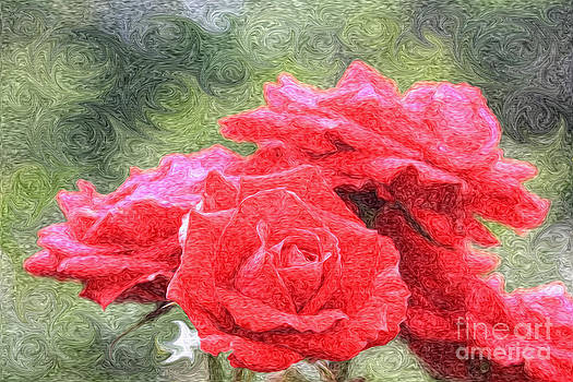 Beverly Claire Kaiya - Painterly Red English Roses with Green Swirls